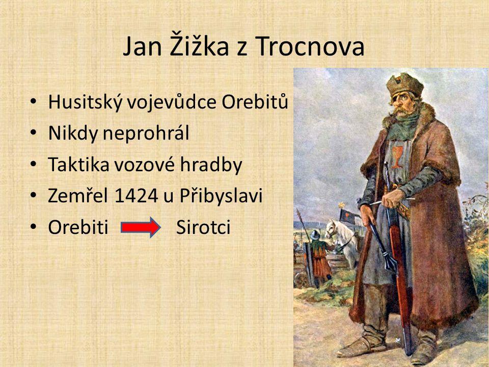 Jan Žižka z Trocnova Husitský vojevůdce Orebitů Nikdy neprohrál Taktika vozové hradby Zemřel 1424 u Přibyslavi Orebiti Sirotci