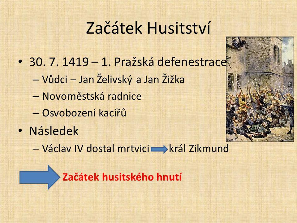 Začátek Husitství 30.7. 1419 – 1.