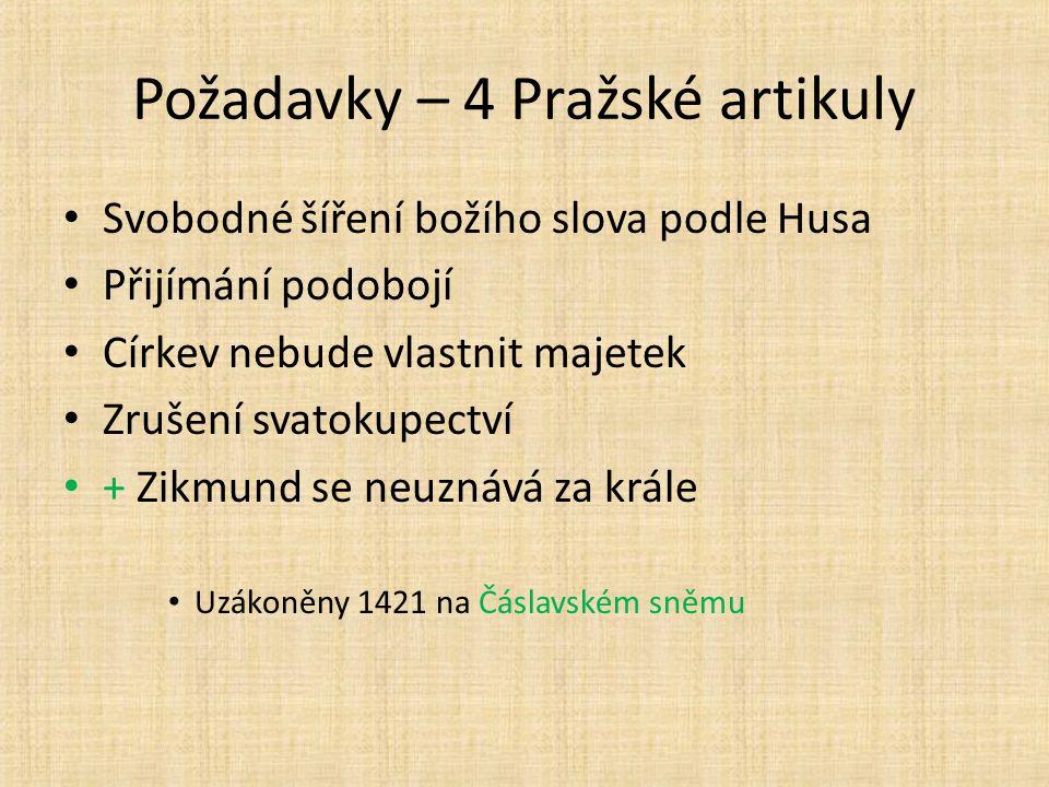 Požadavky – 4 Pražské artikuly Svobodné šíření božího slova podle Husa Přijímání podobojí Církev nebude vlastnit majetek Zrušení svatokupectví + Zikmund se neuznává za krále Uzákoněny 1421 na Čáslavském sněmu