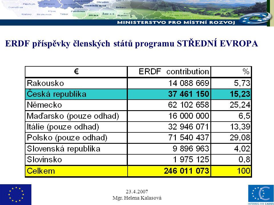 23.4.2007 Mgr. Helena Kalasová ERDF příspěvky členských států programu STŘEDNÍ EVROPA