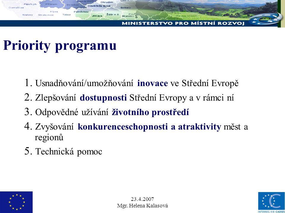 23.4.2007 Mgr. Helena Kalasová Priority programu 1.