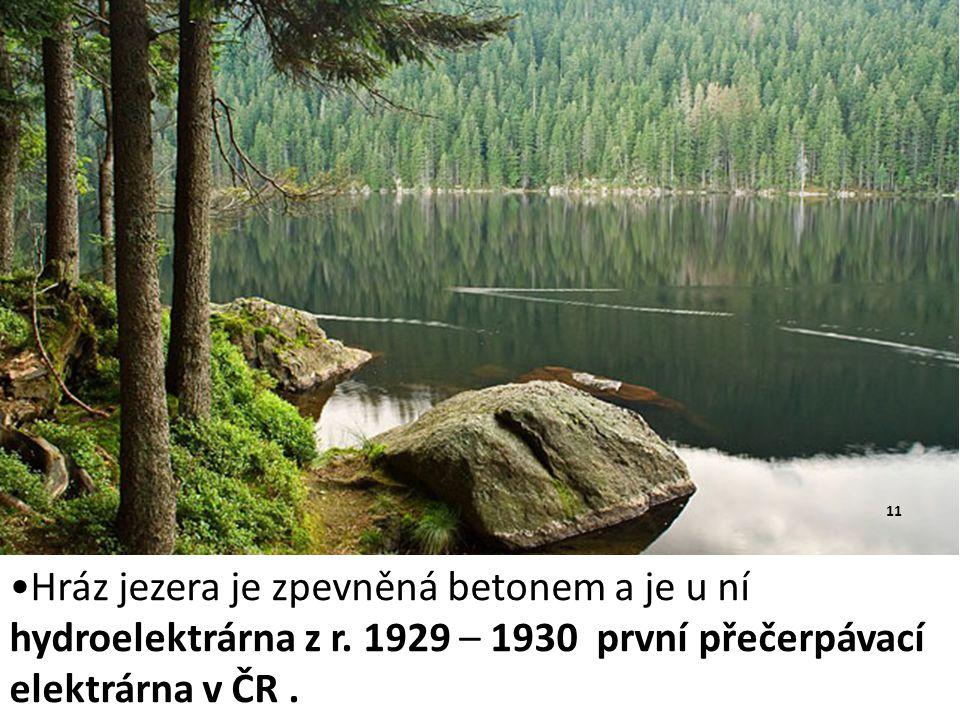Hráz jezera je zpevněná betonem a je u ní hydroelektrárna z r. 1929 – 1930 první přečerpávací elektrárna v ČR. 11