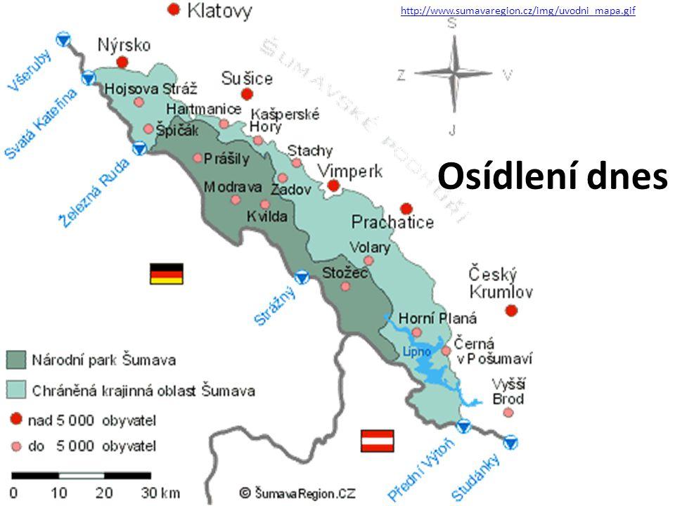 http://www.sumavaregion.cz/img/uvodni_mapa.gif Osídlení dnes