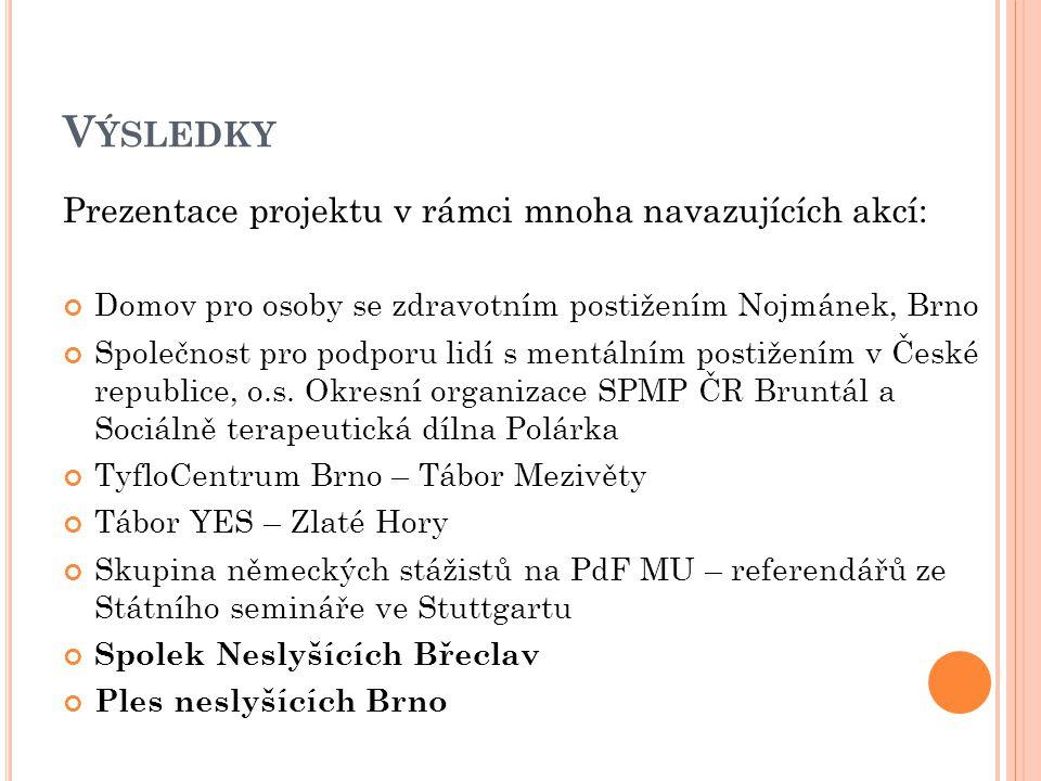 V ÝSLEDKY Prezentace projektu v rámci mnoha navazujících akcí: Domov pro osoby se zdravotním postižením Nojmánek, Brno Společnost pro podporu lidí s mentálním postižením v České republice, o.s.