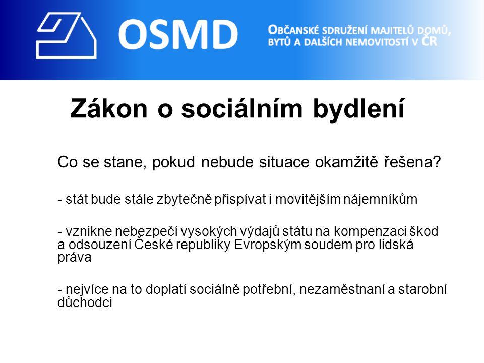 Zákon o sociálním bydlení Co se stane, pokud nebude situace okamžitě řešena.