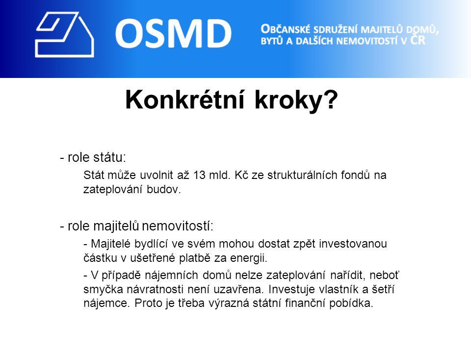 Konkrétní kroky. - role státu: Stát může uvolnit až 13 mld.