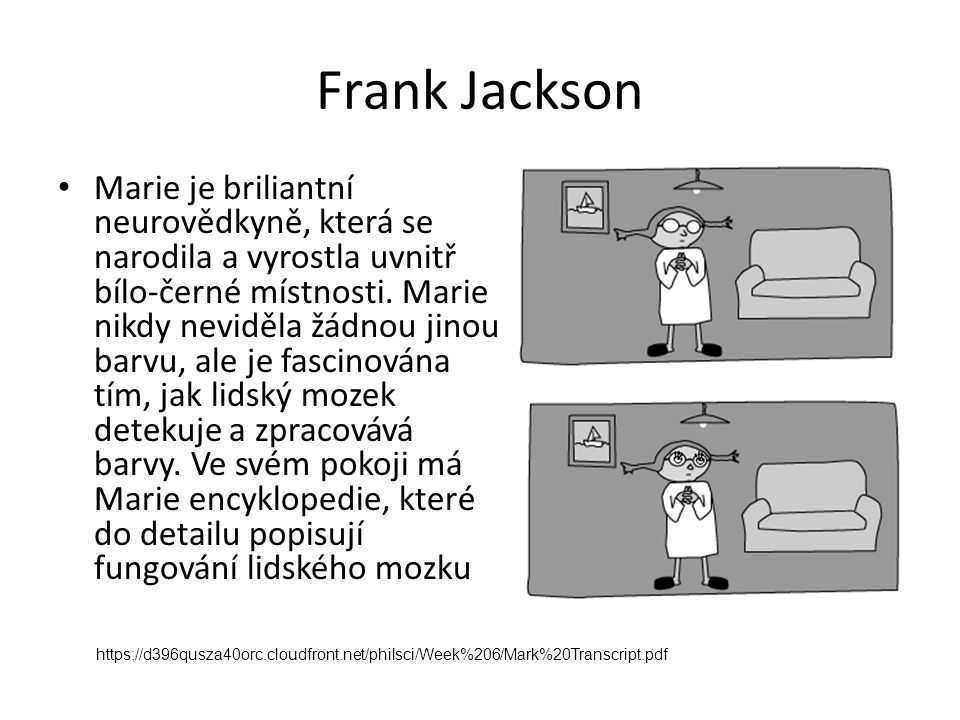 Frank Jackson Marie je briliantní neurovědkyně, která se narodila a vyrostla uvnitř bílo-černé místnosti. Marie nikdy neviděla žádnou jinou barvu, ale