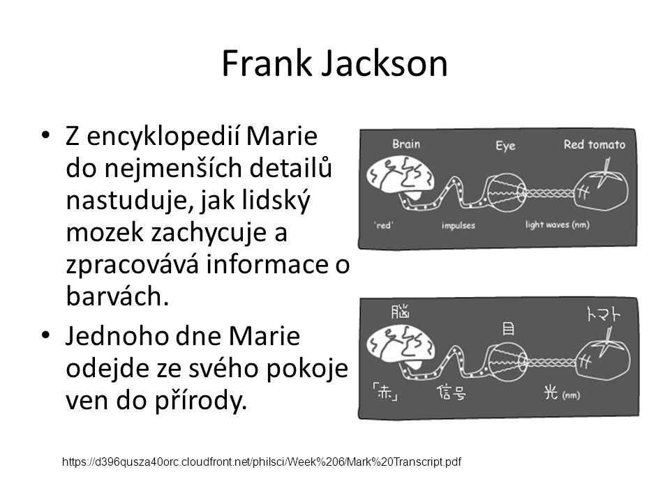 Frank Jackson Z encyklopedií Marie do nejmenších detailů nastuduje, jak lidský mozek zachycuje a zpracovává informace o barvách. Jednoho dne Marie ode