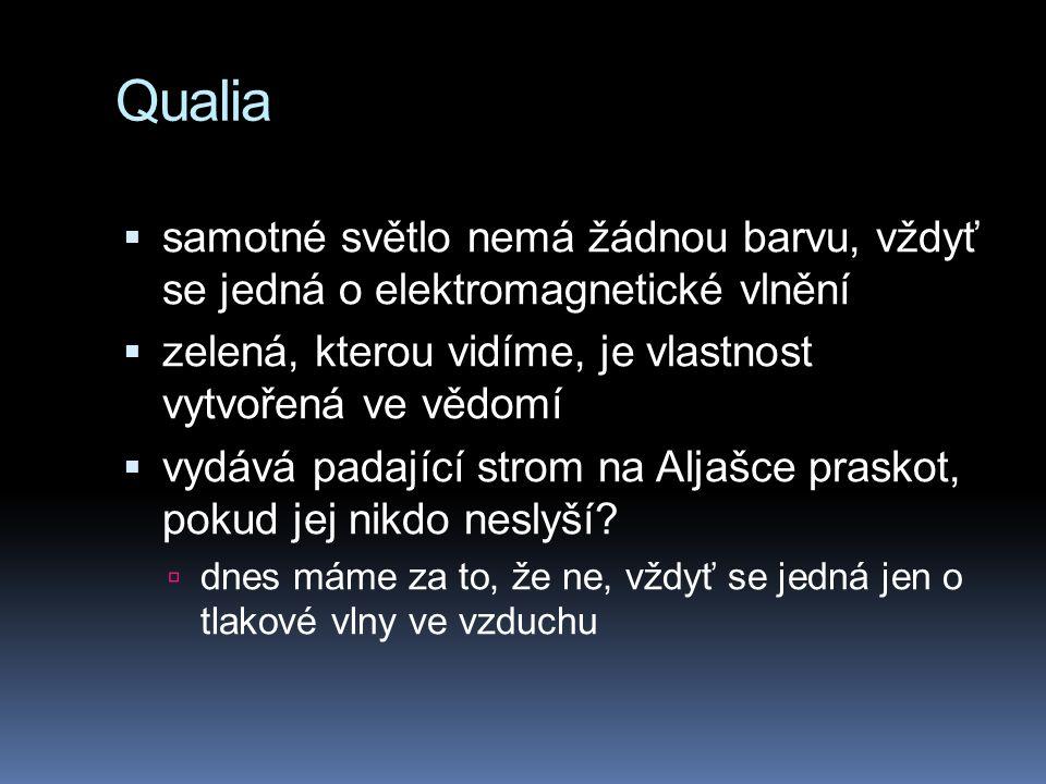 Qualia  samotné světlo nemá žádnou barvu, vždyť se jedná o elektromagnetické vlnění  zelená, kterou vidíme, je vlastnost vytvořená ve vědomí  vydává padající strom na Aljašce praskot, pokud jej nikdo neslyší.