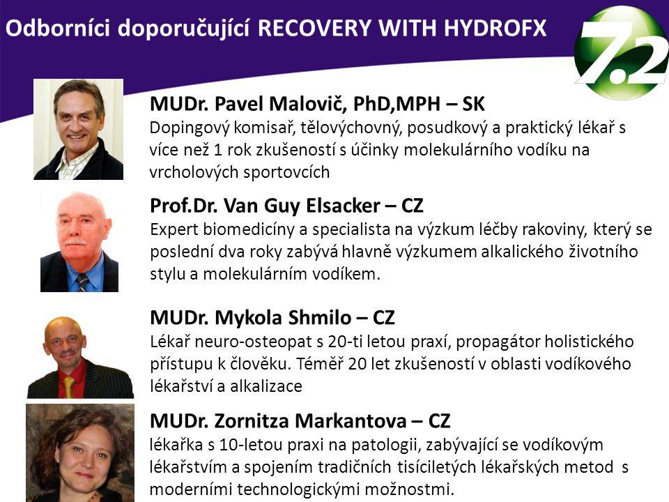 Odborníci doporučující RECOVERY WITH HYDROFX. MUDr. Pavel Malovič, PhD,MPH – SK Dopingový komisař, tělovýchovný, posudkový a praktický lékař s více ne
