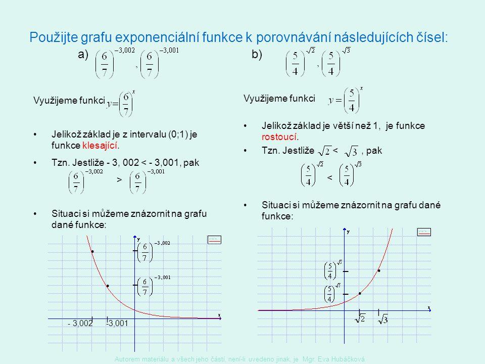 Vlastnosti exponenciální funkce y = a x, a a>1a>1 0 < a < 1 Definiční obor je R. Obor hodnot je (0;∞) Je rostoucí, a tedy je prostá.Je klesající, a te