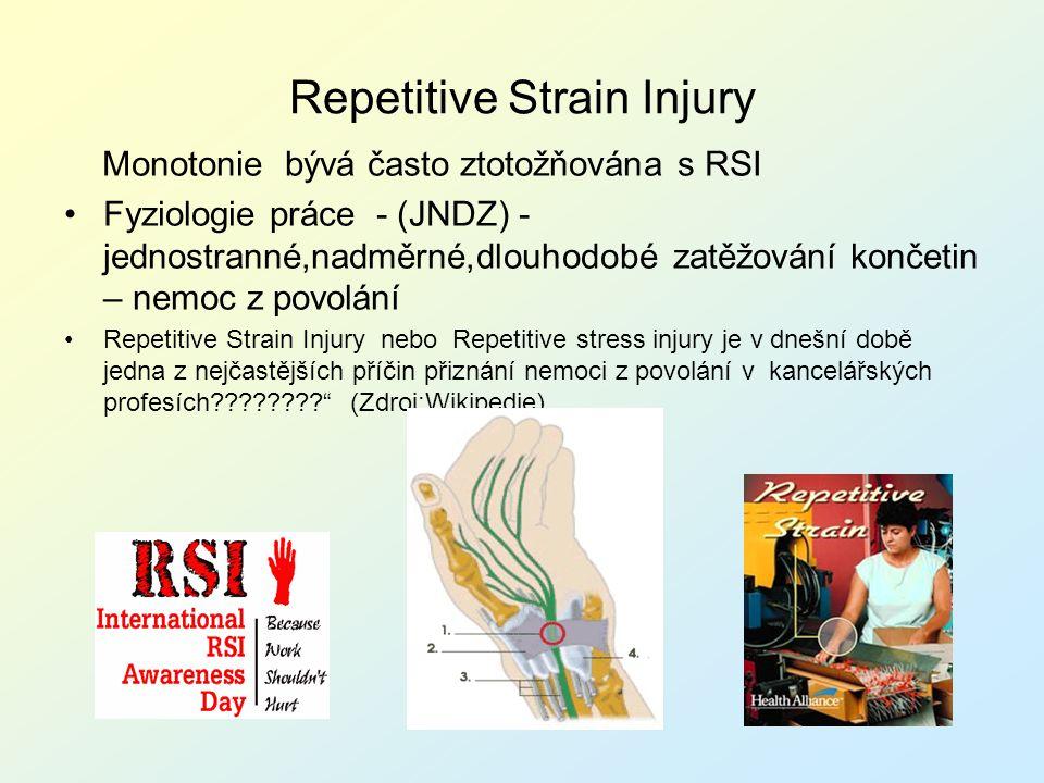 Repetitive Strain Injury Monotonie bývá často ztotožňována s RSI Fyziologie práce - (JNDZ) - jednostranné,nadměrné,dlouhodobé zatěžování končetin – ne