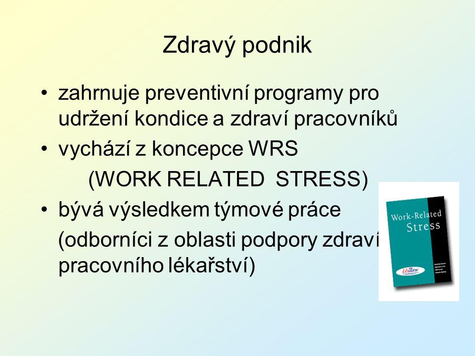 Zdravý podnik zahrnuje preventivní programy pro udržení kondice a zdraví pracovníků vychází z koncepce WRS (WORK RELATED STRESS) bývá výsledkem týmové