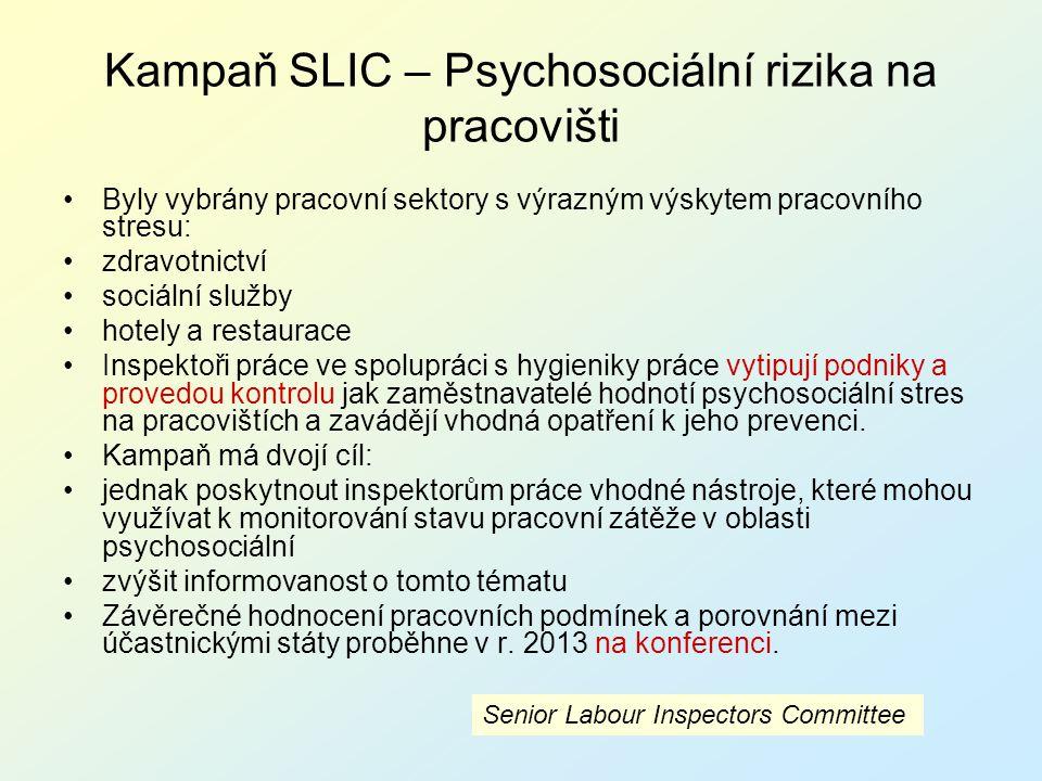 Kampaň SLIC – Psychosociální rizika na pracovišti Byly vybrány pracovní sektory s výrazným výskytem pracovního stresu: zdravotnictví sociální služby h