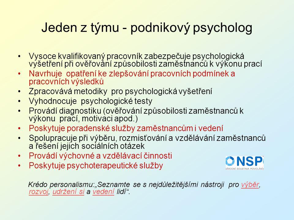 Jeden z týmu - podnikový psycholog Vysoce kvalifikovaný pracovník zabezpečuje psychologická vyšetření při ověřování způsobilosti zaměstnanců k výkonu
