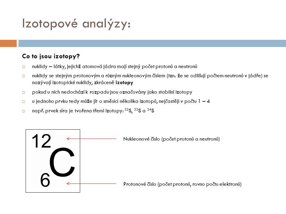 Izotopové analýzy: Co to jsou izotopy?  nuklidy – látky, jejichž atomová jádra mají stejný počet protonů a neutronů  nuklidy se stejným protonovým a