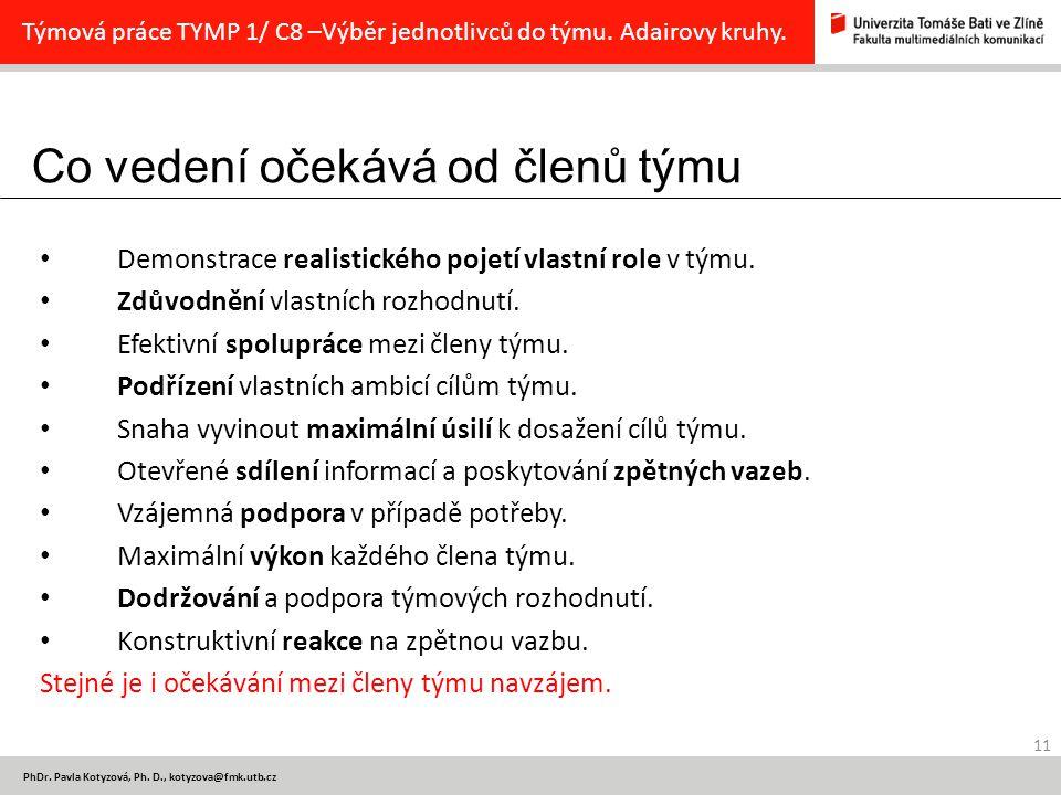 Co vedení očekává od členů týmu 11 PhDr.Pavla Kotyzová, Ph.