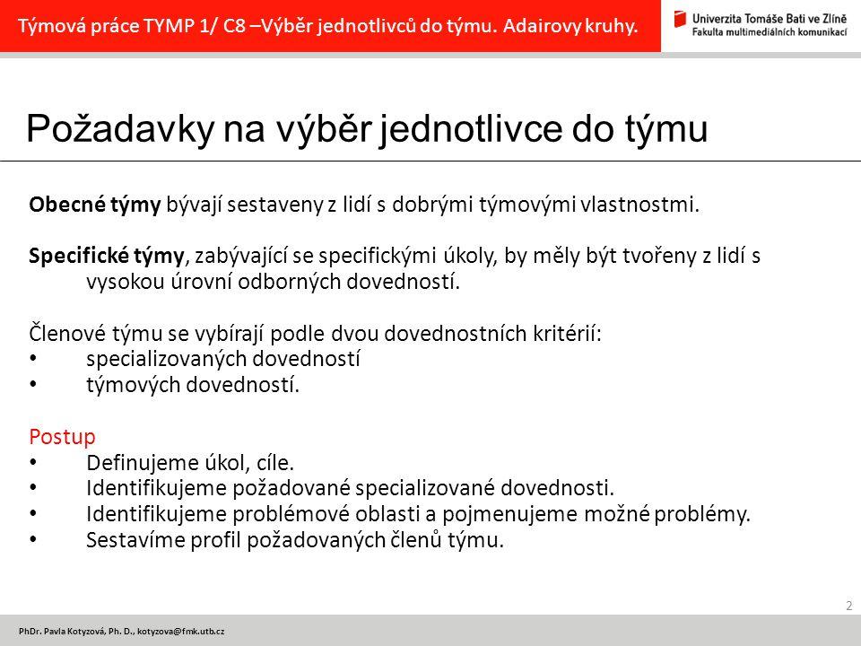 Požadavky na výběr jednotlivce do týmu 2 PhDr. Pavla Kotyzová, Ph.