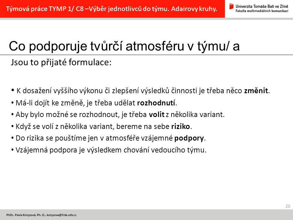 Co podporuje tvůrčí atmosféru v týmu/ a 20 PhDr. Pavla Kotyzová, Ph.