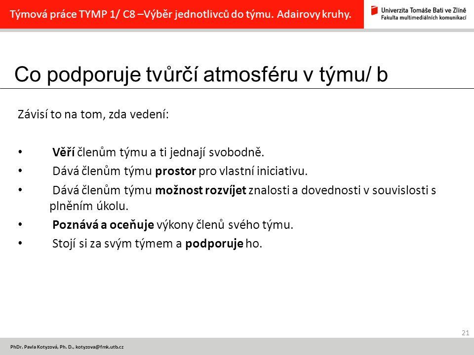 Co podporuje tvůrčí atmosféru v týmu/ b 21 PhDr.Pavla Kotyzová, Ph.