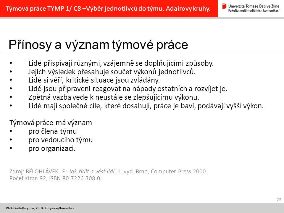 Přínosy a význam týmové práce 23 PhDr.Pavla Kotyzová, Ph.