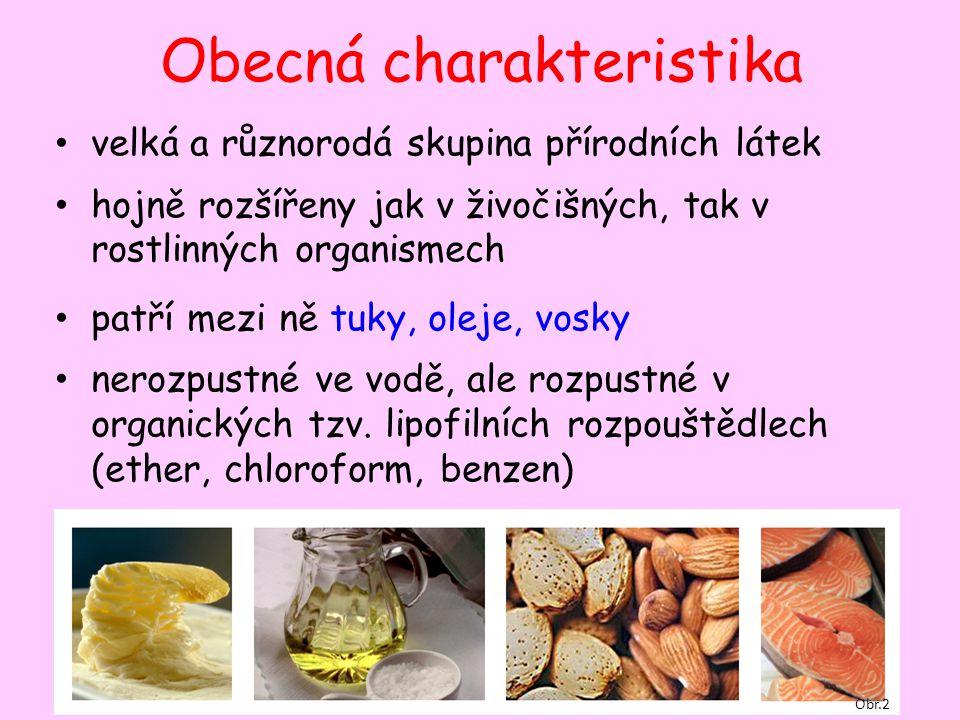 Obecná charakteristika velká a různorodá skupina přírodních látek hojně rozšířeny jak v živočišných, tak v rostlinných organismech patří mezi ně tuky, oleje, vosky nerozpustné ve vodě, ale rozpustné v organických tzv.