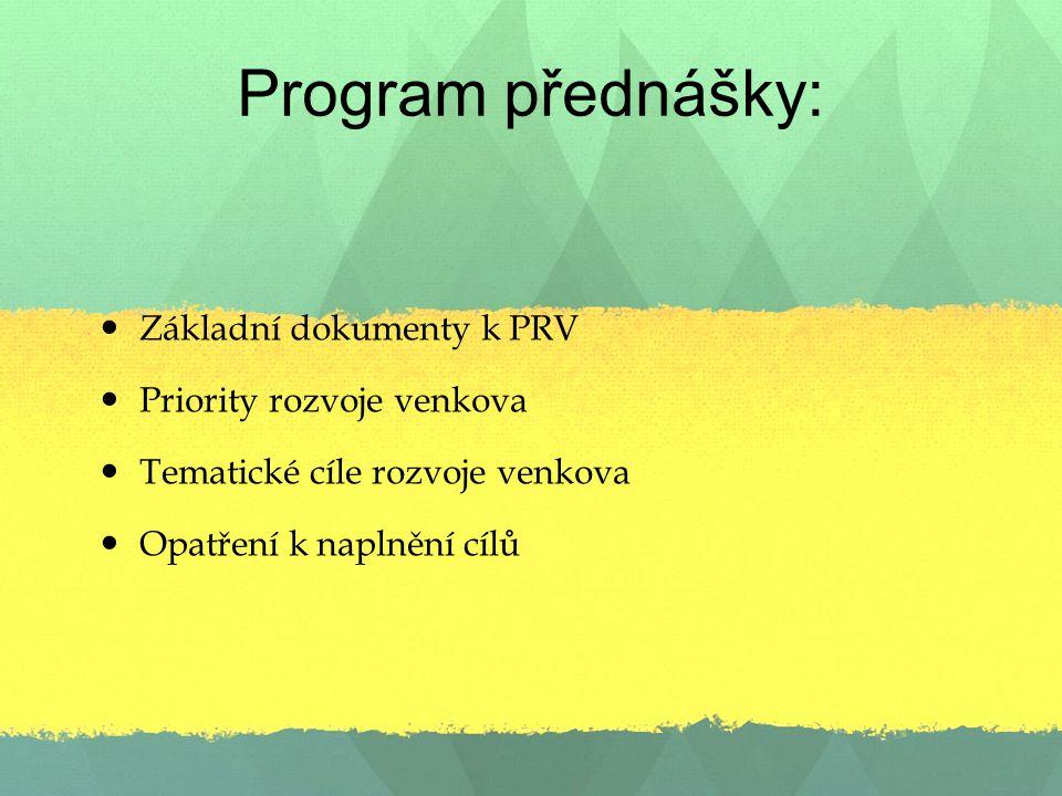 Program přednášky: Základní dokumenty k PRV Priority rozvoje venkova Tematické cíle rozvoje venkova Opatření k naplnění cílů