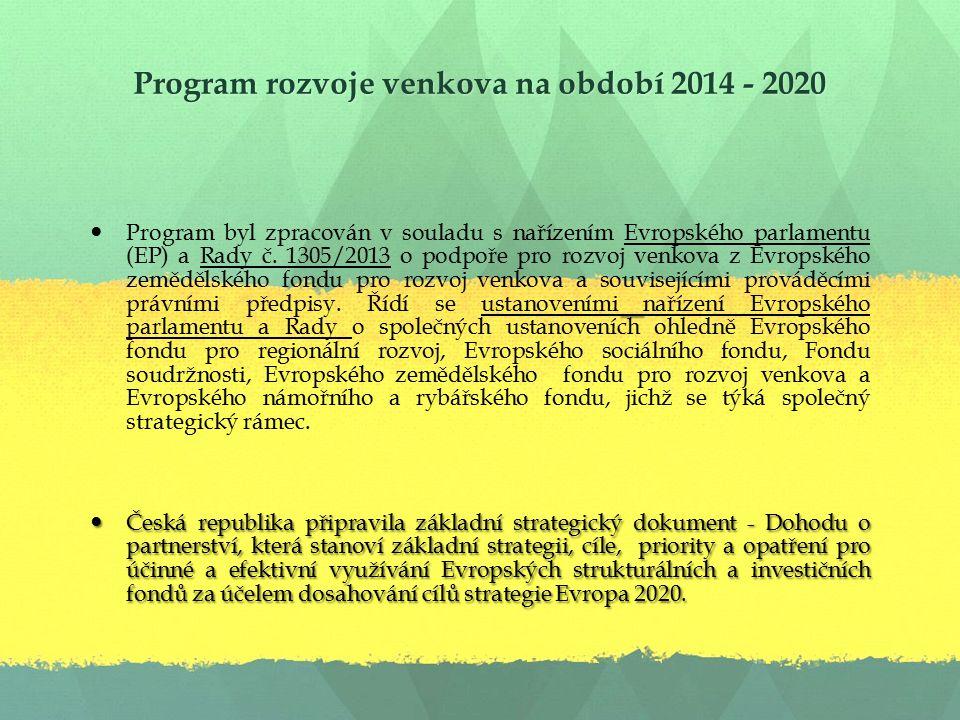 Program rozvoje venkova na období 2014 - 2020 Program byl zpracován v souladu s nařízením Evropského parlamentu (EP) a Rady č.
