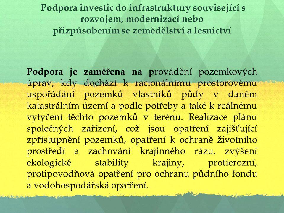 Podpora investic do infrastruktury související s rozvojem, modernizací nebo přizpůsobením se zemědělství a lesnictví Podpora je zaměřena na p rovádění pozemkových úprav, kdy dochází k racionálnímu prostorovému uspořádání pozemků vlastníků půdy v daném katastrálním území a podle potřeby a také k reálnému vytyčení těchto pozemků v terénu.