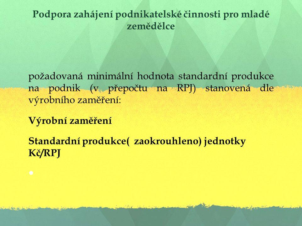 Podpora zahájení podnikatelské činnosti pro mladé zemědělce požadovaná minimální hodnota standardní produkce na podnik (v přepočtu na RPJ) stanovená dle výrobního zaměření: Výrobní zaměření Standardní produkce( zaokrouhleno) jednotky Kč/RPJ