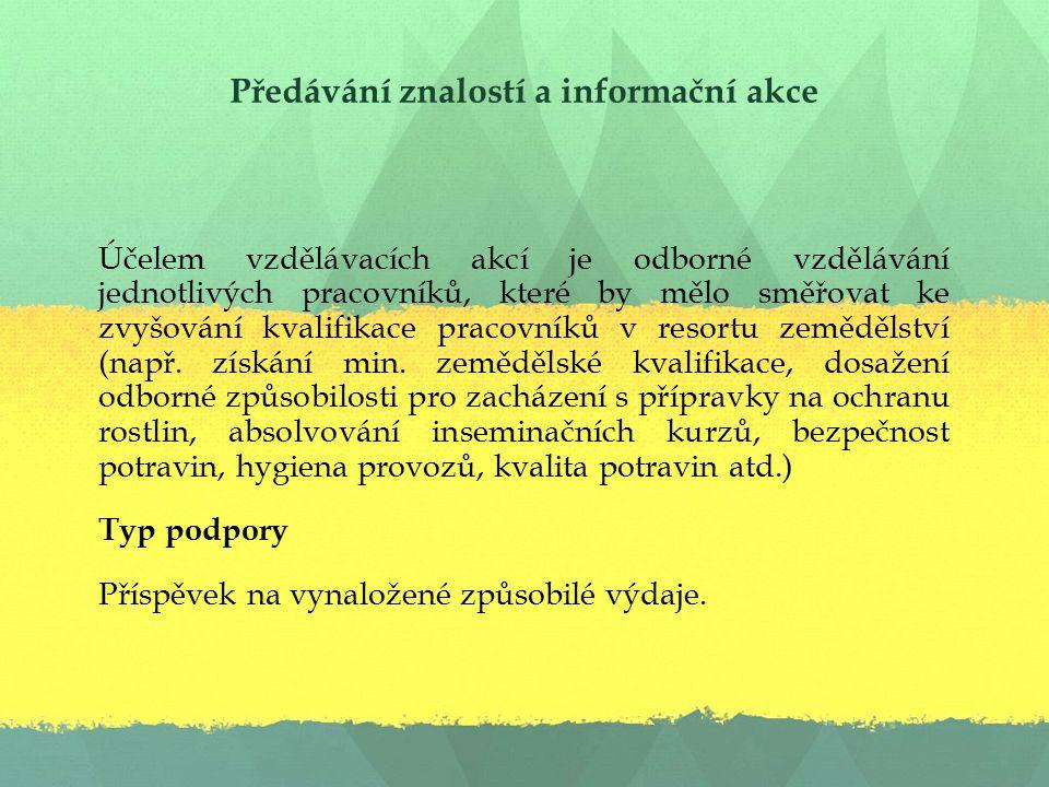 Předávání znalostí a informační akce Příjemce podpory : Subjekt akreditovaný k této činnosti Ministerstvem zemědělství vzdělávací subjekt má vzdělávání v předmětu činnosti vzdělávací subjekt připravuje vzdělávací aktivity v součinnosti s garantem, který absolvoval VŠ obor zaměřený na vzdělávání dospělých, nebo absolvoval kurz zaměřený na vzdělávání dospělých vzdělávací subjekt byl aktivní i před akreditací s tím, že aktivity byly zaměřeny na resortní problematiku i před akreditací s tím, že vzdělávací aktivity byly zaměřeny na resortní problematiku vzdělávací subjekt byl aktivní i před akreditací s tím, že vzdělávací aktivity byly zaměřeny na resortní problematiku :