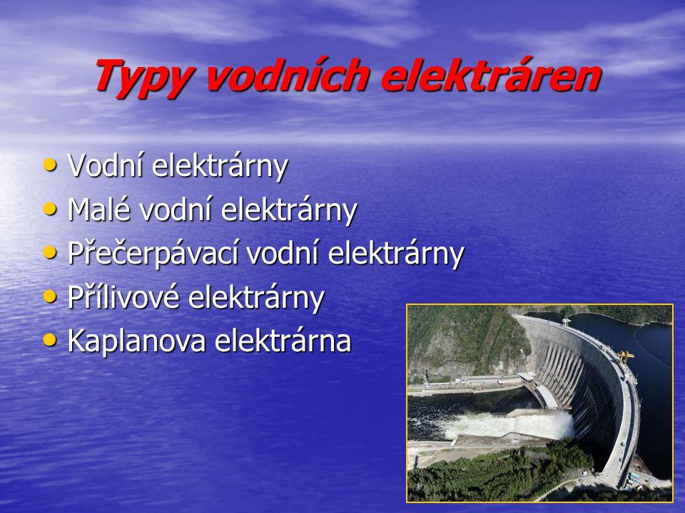 Typy vodních elektráren Vodní elektrárny Vodní elektrárny Malé vodní elektrárny Malé vodní elektrárny Přečerpávací vodní elektrárny Přečerpávací vodní