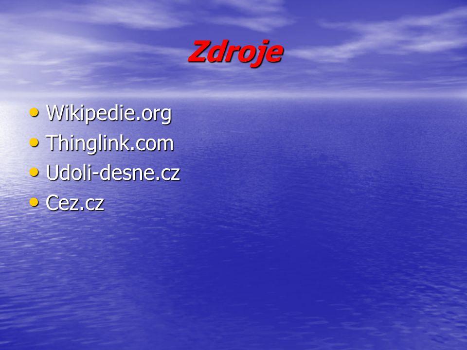 Zdroje Wikipedie.org Wikipedie.org Thinglink.com Thinglink.com Udoli-desne.cz Udoli-desne.cz Cez.cz Cez.cz