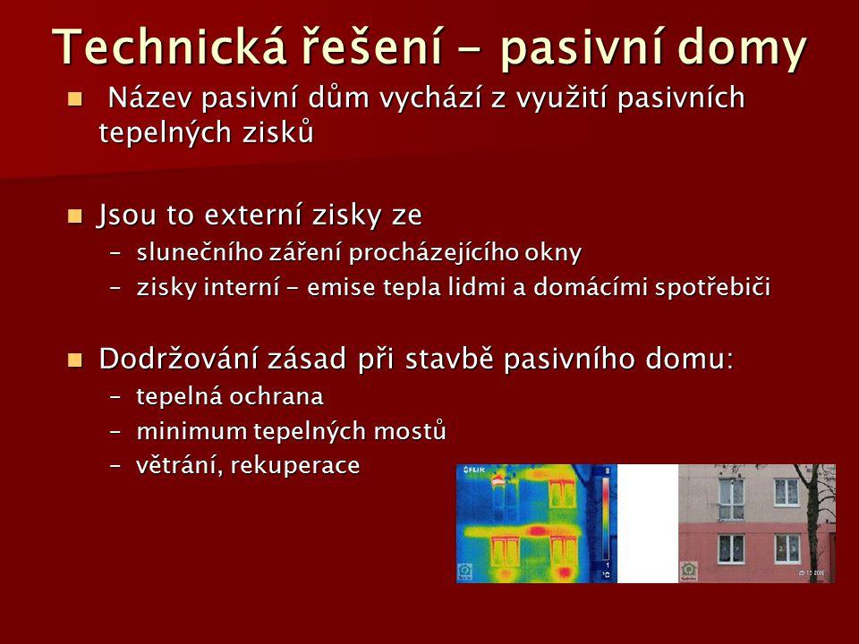 Technická řešení - pasivní domy Název pasivní dům vychází z využití pasivních tepelných zisků Název pasivní dům vychází z využití pasivních tepelných