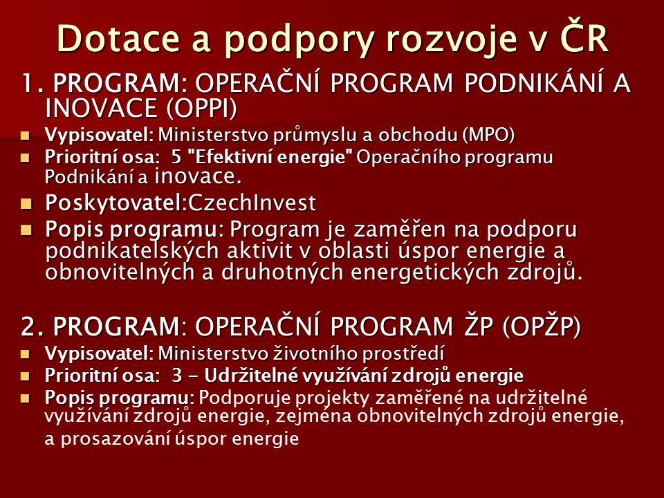 Dotace a podpory rozvoje v ČR 1. PROGRAM: OPERAČNÍ PROGRAM PODNIKÁNÍ A INOVACE (OPPI) Vypisovatel: Ministerstvo průmyslu a obchodu (MPO) Vypisovatel: