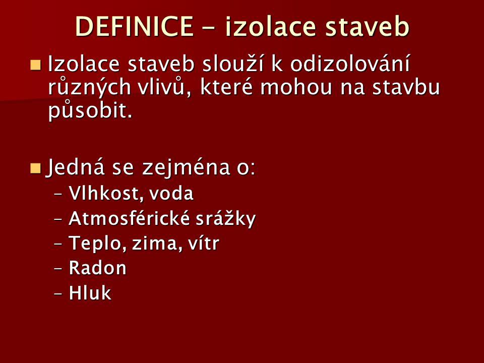 DEFINICE - izolace staveb Izolace staveb slouží k odizolování různých vlivů, které mohou na stavbu působit. Izolace staveb slouží k odizolování různýc