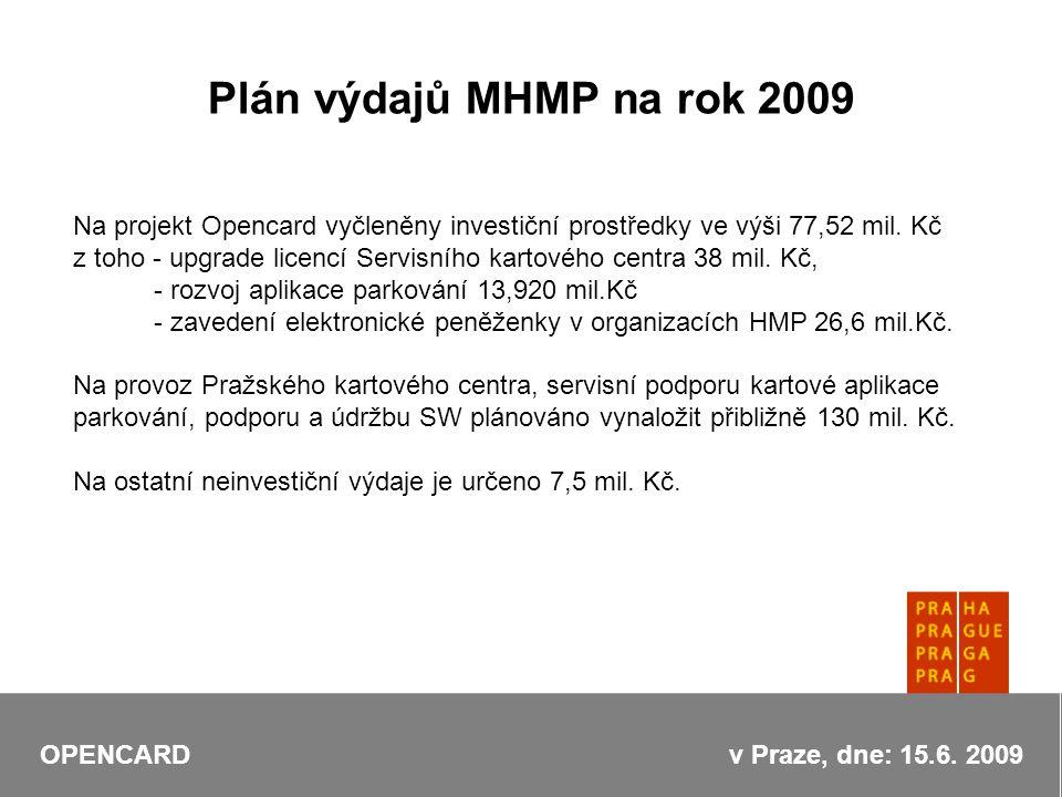 Plán výdajů MHMP na rok 2009 Na projekt Opencard vyčleněny investiční prostředky ve výši 77,52 mil.