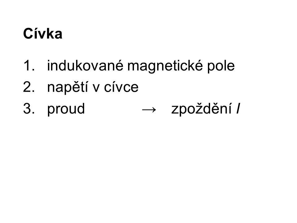 Cívka 1.indukované magnetické pole 2.napětí v cívce 3.proud→zpoždění I