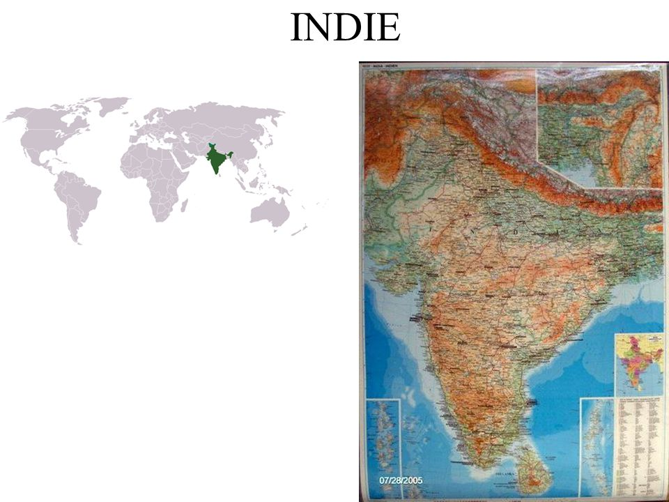 Hl.město: Nové Dillí Rozloha: 3 milióny km2 1,1 miliardy obyvatel – 2.nejlidnatější stát Poloostrov Přední Indie, Himaláj, Indoganžská nížina, Dekanská plošina, Ganga Letní monzuny, tropický a subtropický pás