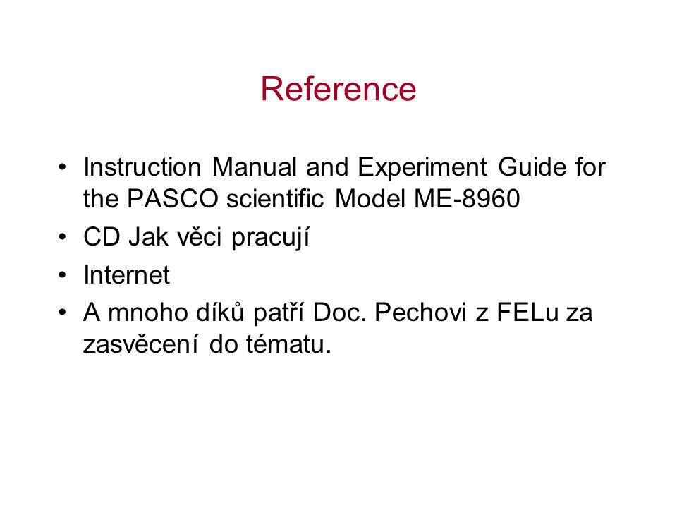 Reference Instruction Manual and Experiment Guide for the PASCO scientific Model ME-8960 CD Jak věci pracují Internet A mnoho díků patří Doc. Pechovi