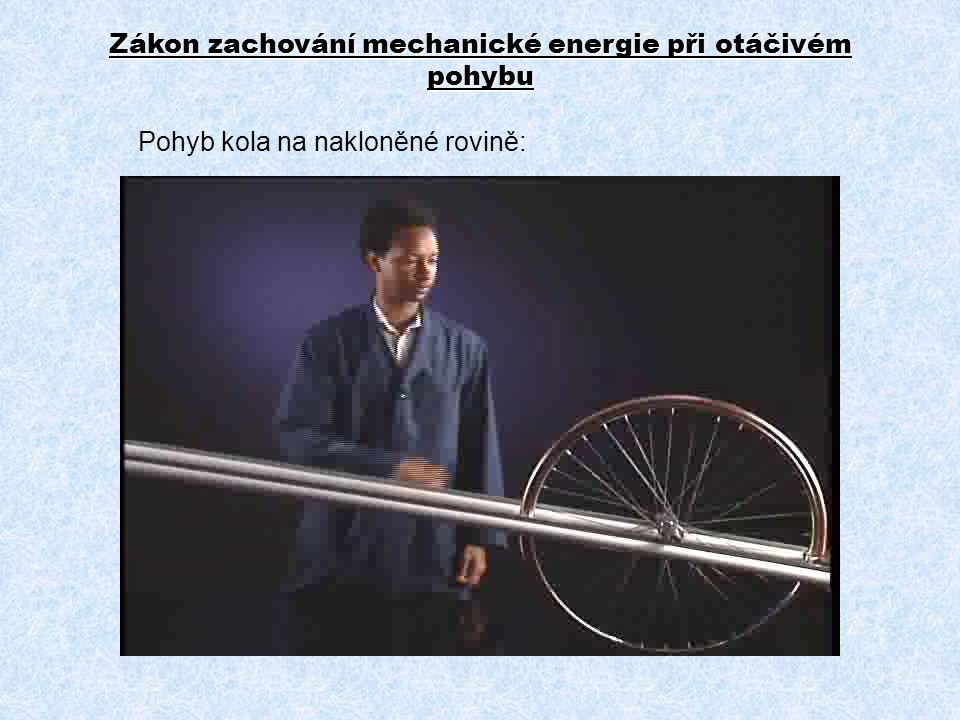 Pohyb kola na nakloněné rovině: Zákon zachování mechanické energie při otáčivém pohybu