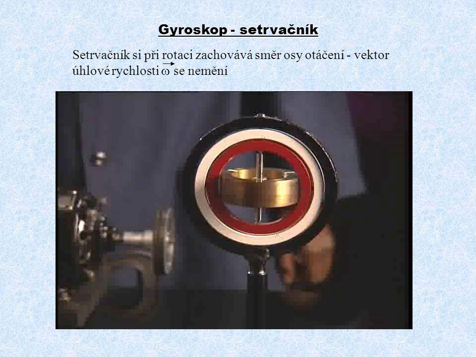 Setrvačník si při rotaci zachovává směr osy otáčení - vektor úhlové rychlosti  se nemění Gyroskop - setrvačník
