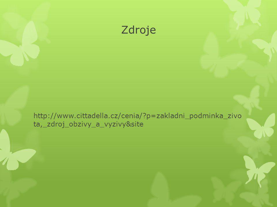 Zdroje http://www.cittadella.cz/cenia/ p=zakladni_podminka_zivo ta,_zdroj_obzivy_a_vyzivy&site