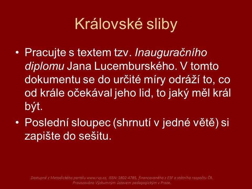 Královské sliby Pracujte s textem tzv. Inauguračního diplomu Jana Lucemburského.