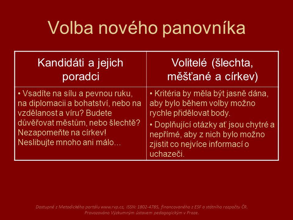 Volba nového panovníka Dostupné z Metodického portálu www.rvp.cz, ISSN: 1802-4785, financovaného z ESF a státního rozpočtu ČR.