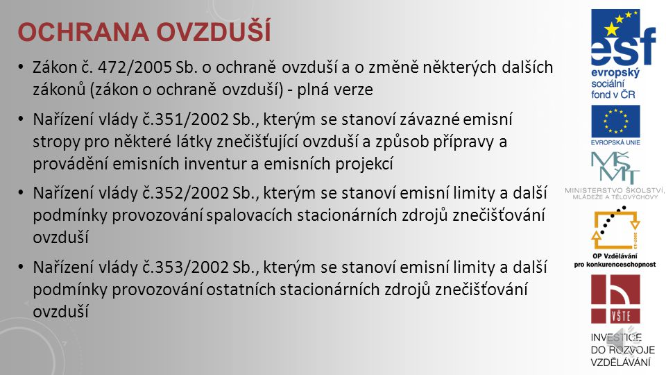SMĚRNICE ES Směrnice Rady 96/62/ES ze dne 27.