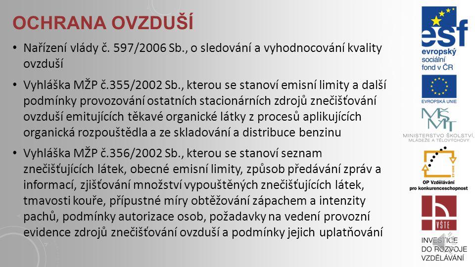 OCHRANA OVZDUŠÍ Zákon č. 472/2005 Sb.