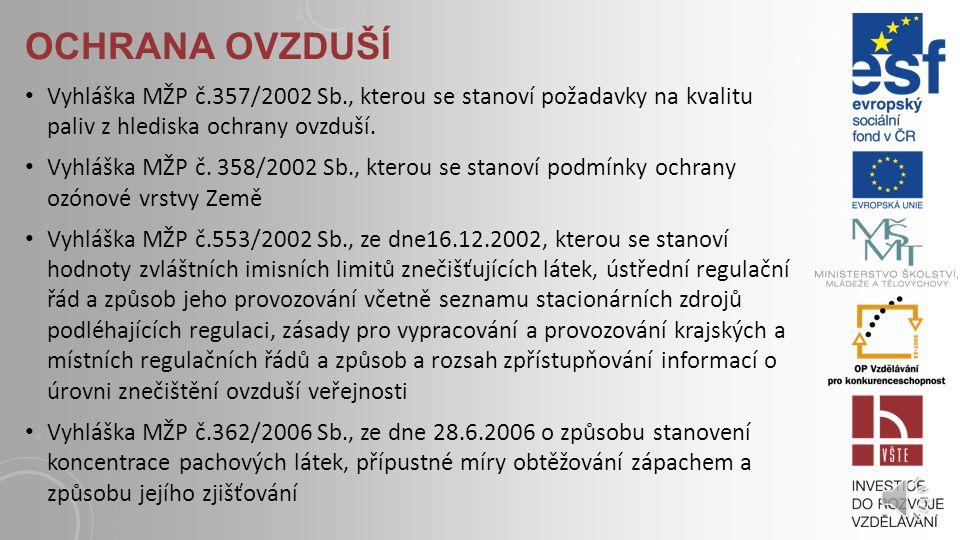 OCHRANA OVZDUŠÍ Nařízení vlády č.