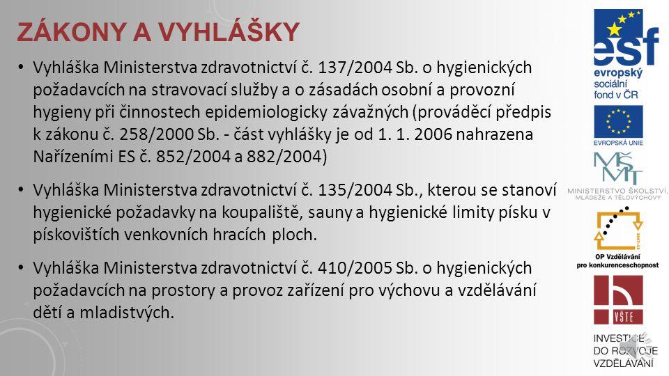 ZÁKONY A VYHLÁŠKY Zákon č.258/2000 Sb., o ochraně veřejného zdraví v platném znění Zákon č.