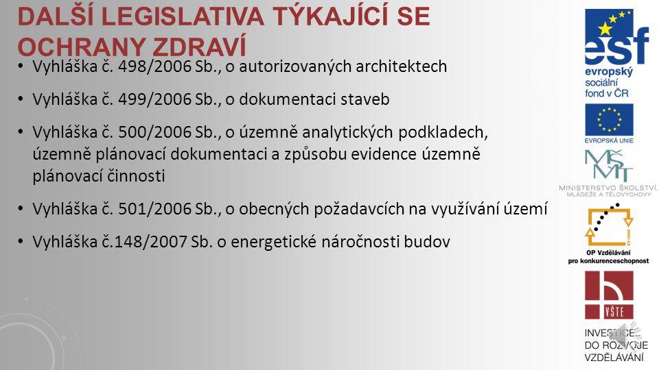 DALŠÍ LEGISLATIVA TÝKAJÍCÍ SE OCHRANY ZDRAVÍ Zákon č.